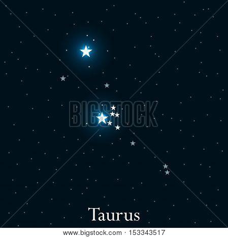 Taurus Zodiac Sign. Bright Stars In The Cosmos. Constellation Taurus. Vector Illustration.