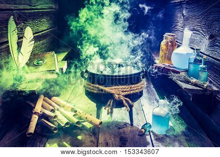 Magical Witcher Cauldron With Books, Scrolls And Potions For Halloween
