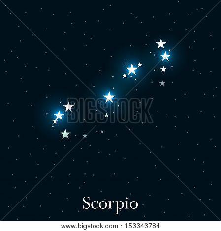 Scorpio Zodiac Sign. Bright Stars In The Cosmos. Constellation Scorpio. Vector Illustration.