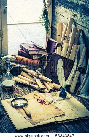 Vintage Witch Workshop With Scrolls And Ingredients