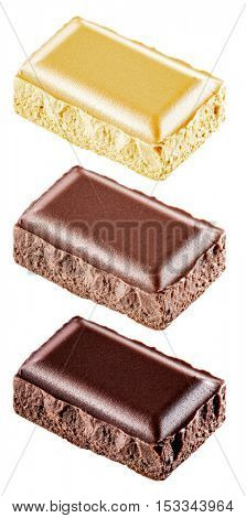 Pieces of different chocolate bar. File contains clipping paths.