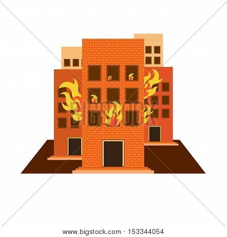 vector Building on fire on white background