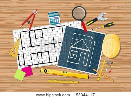 Engineer workspace. blueprint. Engineering drawing project, Sketching building. ruler calculator level helmet wrench screwdriver. vector illustration in flat style on wooden background