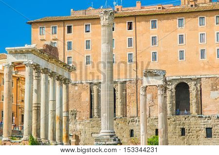 Roman Forum, the columns of the Temple of Saturn, Rome, Italy