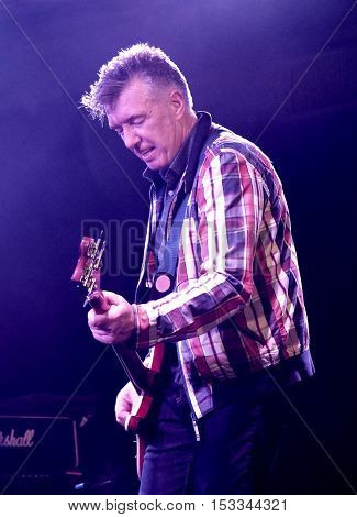 SOUTHAMPTON, UK, October 20 2016:  Mickey Bradley, guitarist with  The Undertones performing at the Engine Rooms, Southampton, Hampshire UK