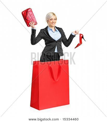 A view of a young attractive woman in a shopping bag isolated on white background