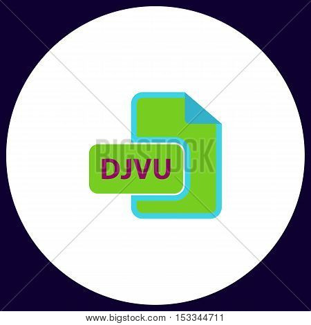 DJVU Simple vector button. Illustration symbol. Color flat icon