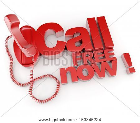 3D rendering of an unhooked telephone receiver with the words call free now