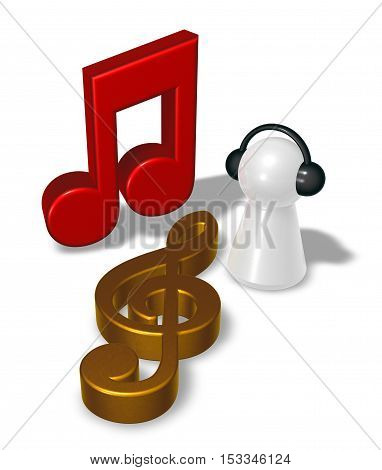 music note clef and pawn with headphones - 3d rendering
