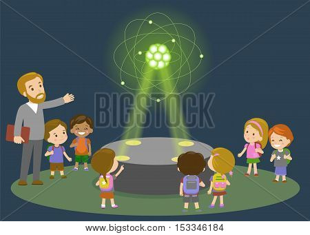 Education elementary school learning technology and people concept - group of school kids looking to carbon atom hologram on physics lesson of future. Vector