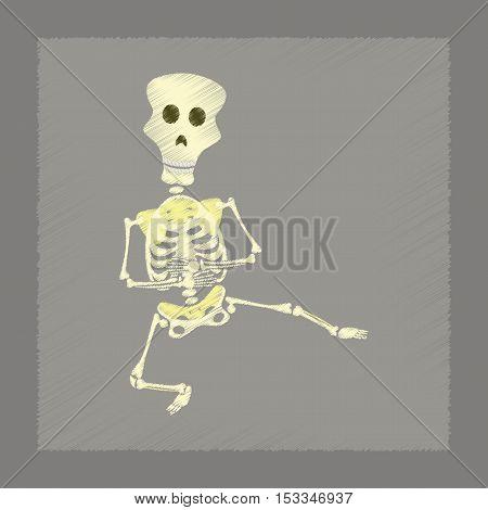 flat shading style icon of skeleton Halloween monster