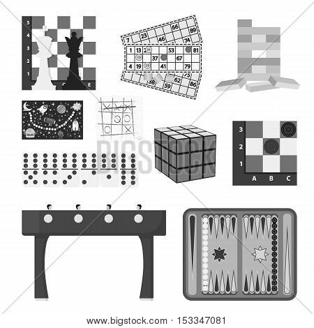 Board games set icons in monochrome style. Big collection of board games vector symbol stock