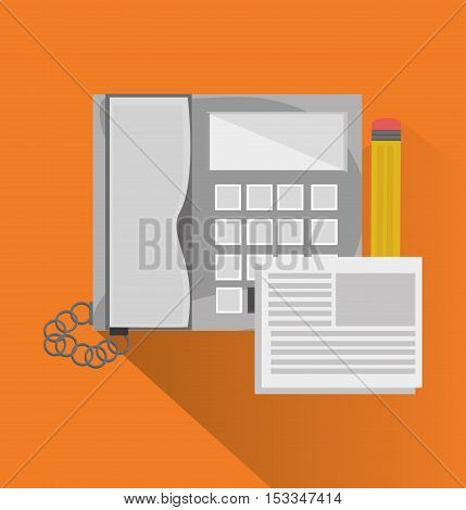Phone document and pencil icon. Office work supplies and objects theme. Colorful design. Vector illustration