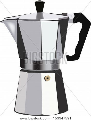 Traditional Italian coffee maker Italian coffee pot in aluminum to filter the coffee