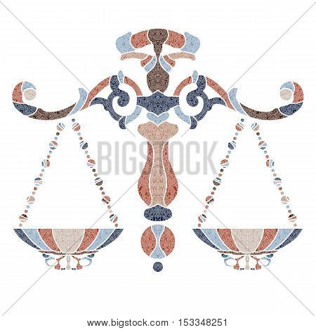 Bright patterned scales, zodiac Libra sign for astrological predestination and horoscope