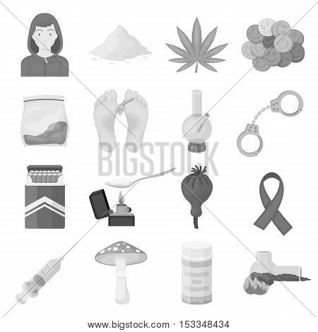 Drugs set icons in monochrome style. Big collection of drugs vector symbol stock