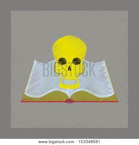 flat illustration on stylish background of book skull