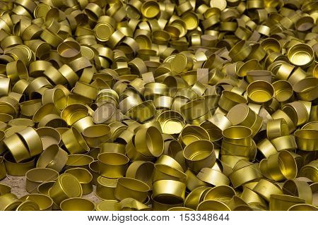 A bunch of cans, many cans, texture of cans