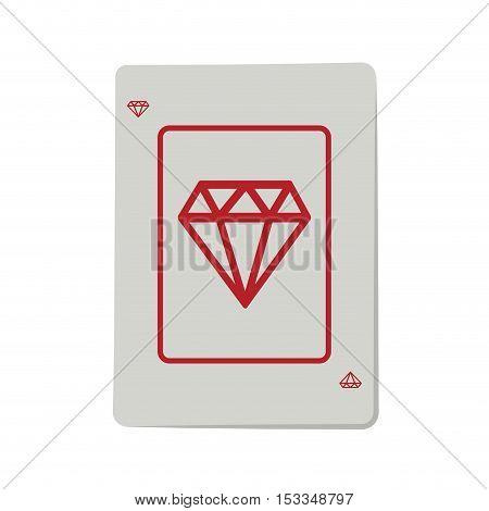 casino ace of diamond cards poker icon over white background.  gambling games design. vector illustration