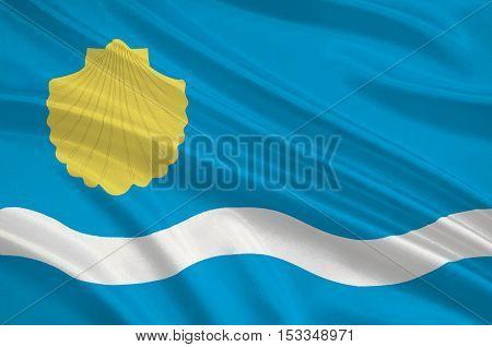 Flag of Olsztyn is the capital of the Warmian-Masurian Voivodeship in Poland. 3d illustration