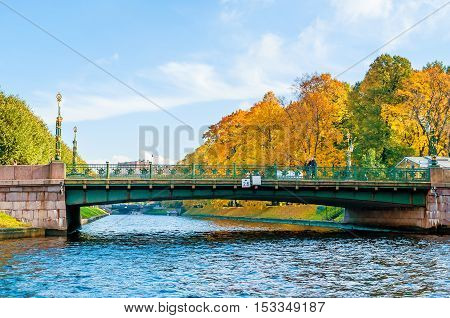 SAINT PETERSBURG RUSSIA-OCTOBER 3 2016. 2 nd Garden Bridge - connecting the Spassky and 1st Admiralty Island on the Moika River in the Central district of Saint Petersburg Russia