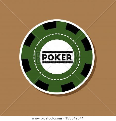paper sticker on stylish background of single poker chips
