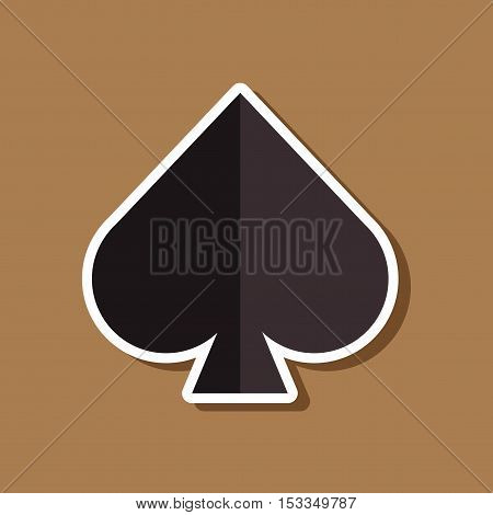 paper sticker on stylish background of poker game spades
