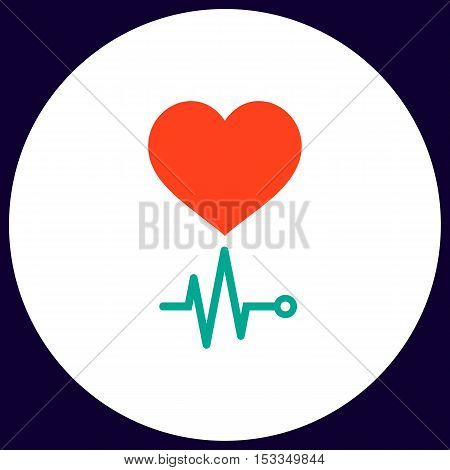 cardiogram Simple vector button. Illustration symbol. Color flat icon