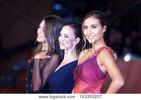 Rome Italy - October 20 2016. Rachel Risaliti foreground right winner of the 2016 Miss Italy contest posing on the red carpet at the film festival in Rome. At the Auditorium Parco della Musica.