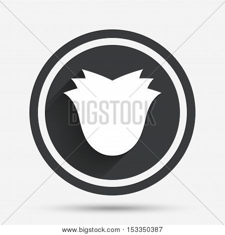 Flower sign icon. Rose symbol. Circle flat button with shadow and border. Vector