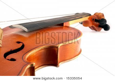 close-up of Violin isolated on white