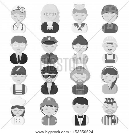 Proffesion set icons in monochrome style. Big collection of proffesion vector symbol stock