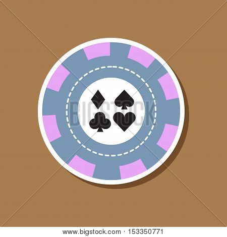 paper sticker on stylish background of poker chips