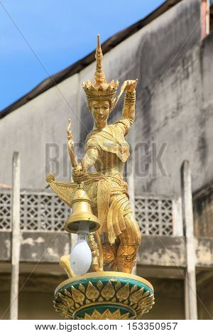Lamps of a Manorah in Hat Yai Songkhla Thailand.