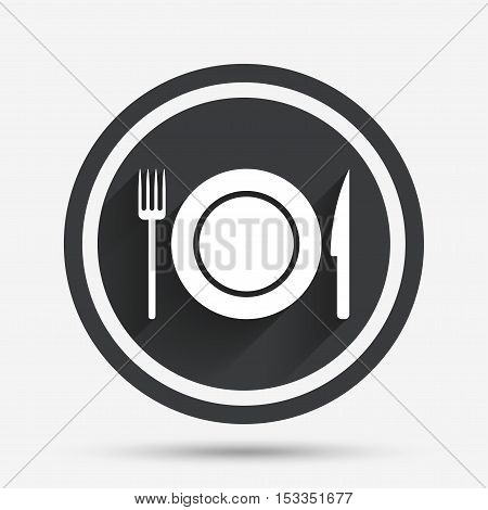 Food sign icon. Cutlery symbol. Knife and fork, dish. Circle flat button with shadow and border. Vector