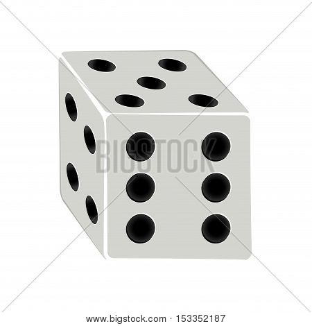 dice cube icon over white background. gambling games design. vector illustration
