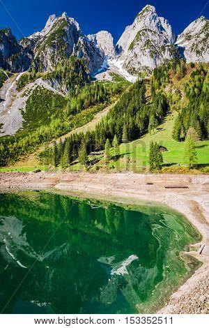 Beautiful Sunrise At Gosausee Lake In Gosau, Alps, Austria
