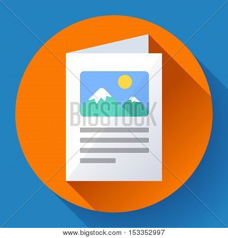 Flat Brochure Vector Icon. Color information brochure icon. File with pictures icon