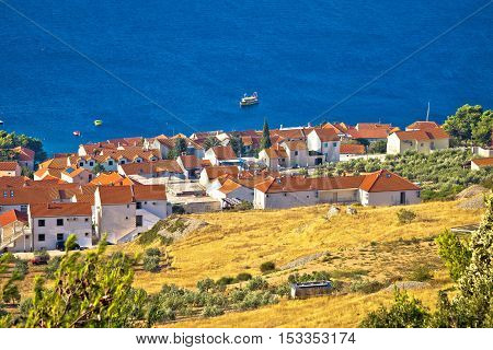 Town of Bol waterfront aerial view Island of Brac Dalmatia Croatia