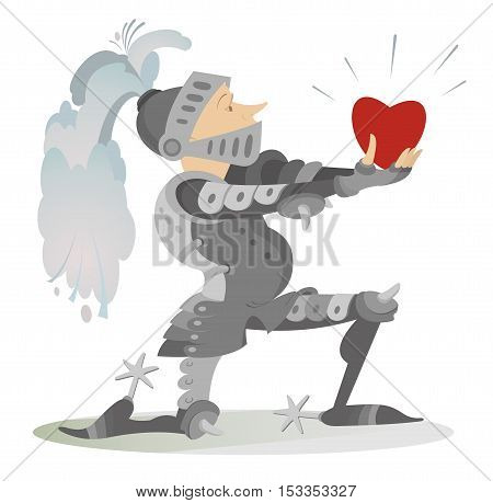 Knight in love. Knight gives the heart to his bride
