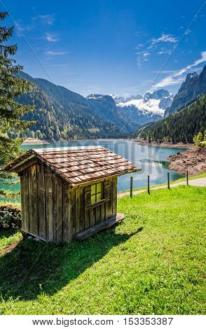 Breathtaking Dawn At Mountain Lake In Gosau, Alps, Austria