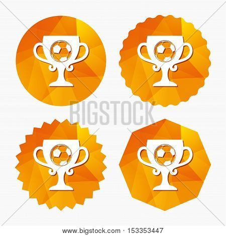 Football ball sign icon. Soccer Sport symbol. Winner award cup. Triangular low poly buttons with flat icon. Vector