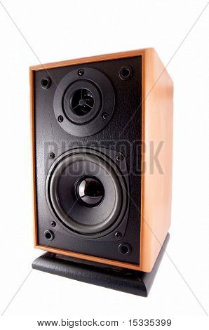 wooden loud speaker isolated on white