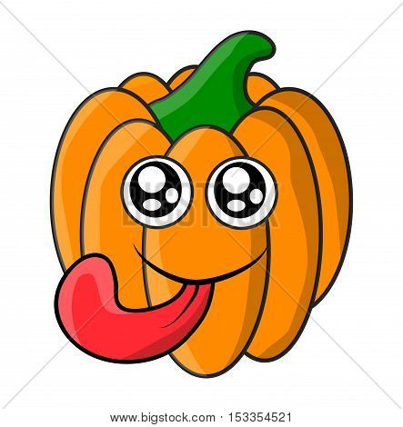 Halloween  Pumpkin Face With Eyes And Tongue Vector Symbol Icon Design