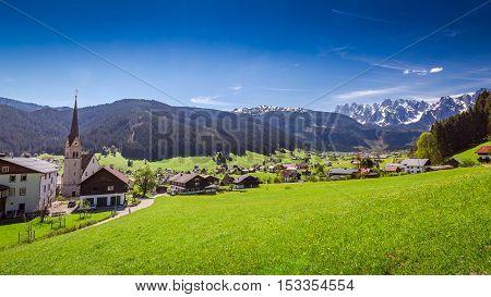 Small mountain village Gosau in Austrian Alps