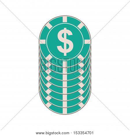 casino money chips over white background. casino gambling games design. vector illustration