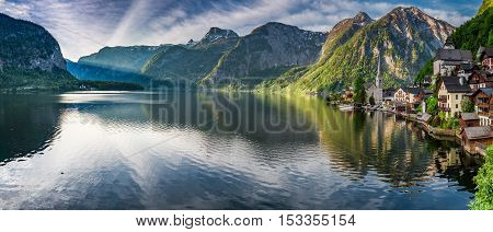 Stunning Panorama Of Hallstatt Lake At Dawn, Alps, Austria