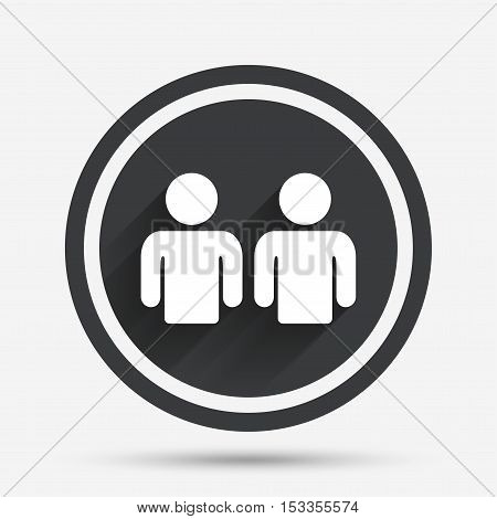 Friends sign icon. Social media symbol. Circle flat button with shadow and border. Vector