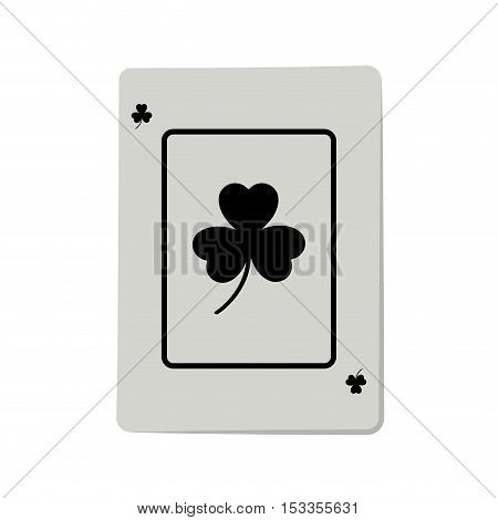 casino ace of clover cards poker icon over white background.  gambling games design. vector illustration