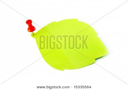 green leaf blank note isolated on white